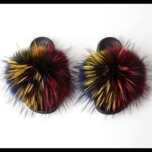 Luxury Fox Fur Slippers For Women